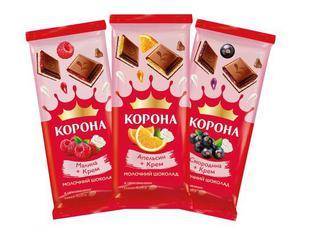 "Шоколад ""Корона"" малина-крем, апельсин-крем, смородина-крем, 85г"