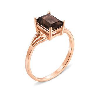 Золотое кольцо с раухтопазом и фианитами. Артикул 530100/раух