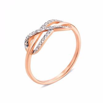 Золотое кольцо Бесконечность с фианитами. Артикул 12975