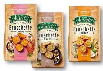 Сухарики брускети зі смаком суміші сирів/ грибів із сметаною/ крабу Maretti 70 г