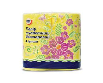 Папір туалетний двошаровий жовтий «Повна Чаша»® 4 рулони/уп