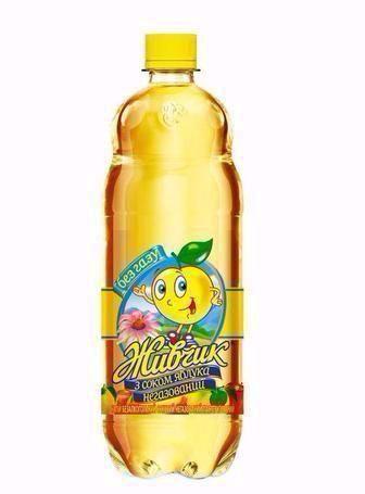Напій Живчик з соком яблука газований, негазований Оболонь 1л