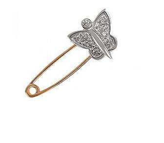 Золотая булавка Бабочка с фианитами Артикул 15-000058845