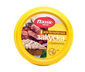 Закуска куряча, або з бужениною, або з баварськими ковбасками або шашлична Пікнік, 100г
