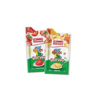 Йогурт з наповнювачем полуниця або персик, 1,5%,  Фанні, 80 г