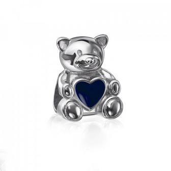 Серебряная бусина шарм «Мишка» с эмалью. Артикул 35160/12/1/570