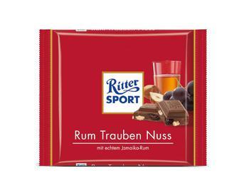 Шоколад Ritter Sport молочний з ромом, родзинками та горіхами, 100 г