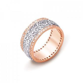 Обручальное кольцо с фианитами Артикул 10128