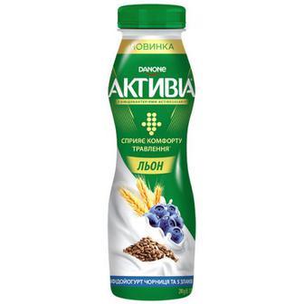 Йогурт Danone Активіа Льон Чорниця та 5 злаків 1,5% 290г