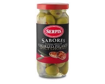 f6fad003c1a3b6 Скидка 22% ▷ Оливки зелені фаршировані ковбасою чорізо, Serpis, 235 ...