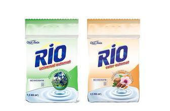 Средство моющее синтетическое порошковое RIO Universal, Горный источник/ RIO Color, Миндальное молочко, без фосфатов, автомат  Своя лінія 2,5 кг