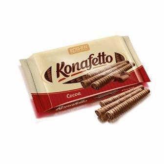Вафельні трубочки Konafetto з начинкою крем-какао Рошен 156г