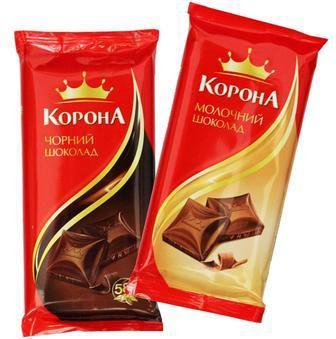 Шоколад молочный, черный Корона 90 г