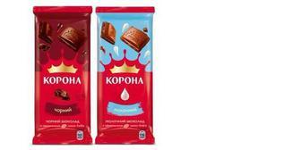 Шоколад чорний, молочний, пористий білий, чорний, молочний, Корона, 90 г