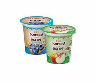 Йогурт Яблуко-кориця, Чорниця-злаки, Полуниця-злаки 2,5% 280г Галичина