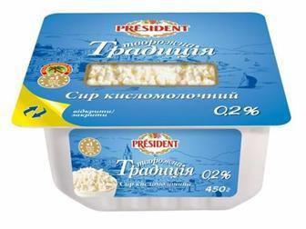 Сыр кисломолочный  Президент Творожная традиция  0,2% 450г