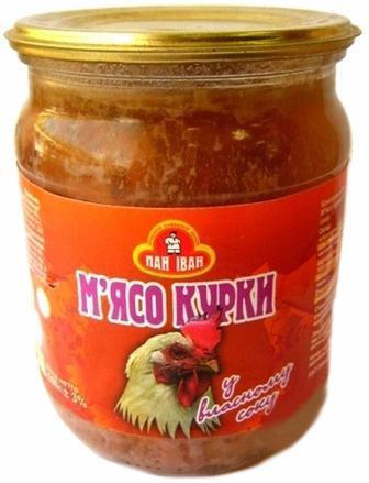 М'ясо курки у власному соку Пан Іван 500 г