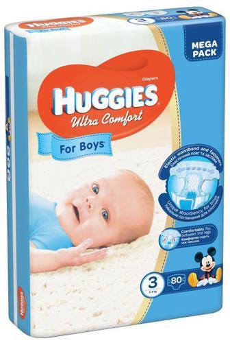 Скидка 25% ▷ Подгузники Huggies Ultra Comfort для мальчиков мега р3 5-9кг 80 шт