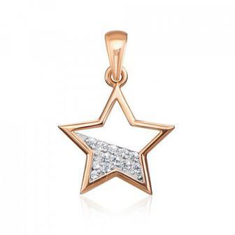 Золотая подвеска «Звезда» с фианитами. Артикул 31754/01/1/323