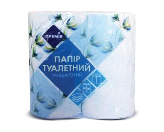 Папір туалетний тришаровий білий із блакитним тисненням «Премія»® 4 рулони/уп