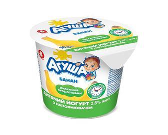 Йогурт дитячий «Агуша» 2,8% жиру з наповнювачем банан, 90г