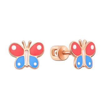 Золотые пуссеты Бабочки с эмалью