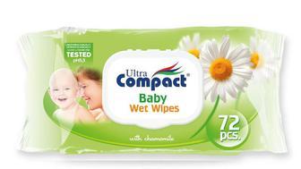 Детские влажные салфетки с клапаном Ultra Compact Baby с ромашкой 72 шт.