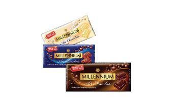 Шоколад білий пористий, молочний пористий, чорний пористий Міленіум, 90 г