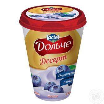 ДЕСЕРТ Дольче персик, полуниця, чорниця 3,4%, 400 г LACTEL