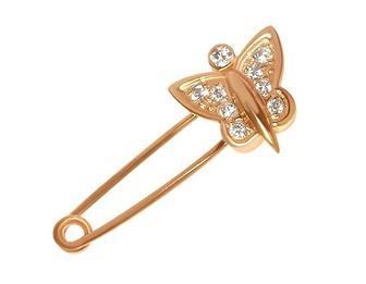 Золота шпилька з фіанітами (1бл-009/34)