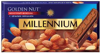 Шоколад Millennium Gold молочный с цельным миндалем 100 г