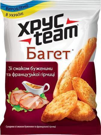 Сухарики Хрус Team Багет со вкусом буженины и французской горчицы, 60г