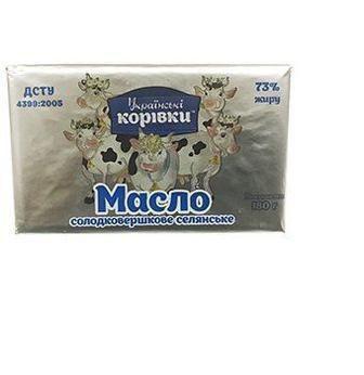 Масло сладкосливочное Українські Корівки 180г 73%