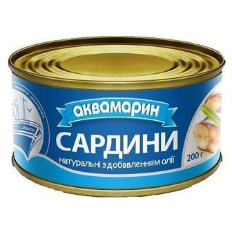 Рибні консерви Аквамарин Сардина натуральні 230г