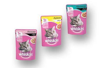 Корм консерви для дорослих котів з лососем в соусі/з кроликом в соусі/з куркою в желе  Whiskas 100 г