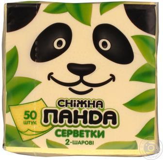 Салфетки Сніжна панда желтые 2-х слойные 50шт