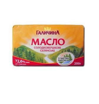 Масло сливочное 72,6%   Галичина  200 г