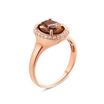 Скидка 31% ▷ Золотое кольцо с раухтопазом и фианитами (50191/01/0/5277)