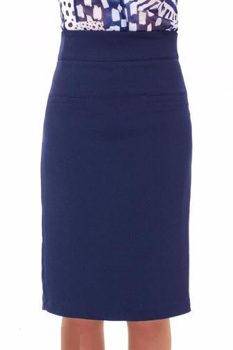 Синяя удлиненная теплая юбка