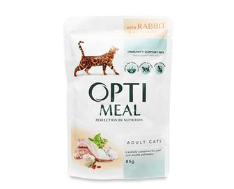 Корм для дорослих котів Optimeal, кролик в білому соусі, 85г
