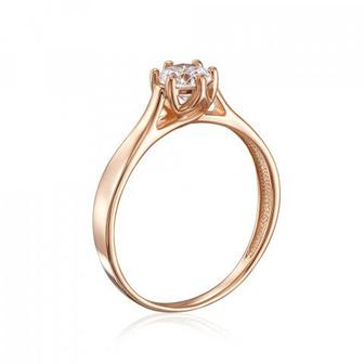 Золотое кольцо с фианитом Swarovski Zirconia. Артикул 12138/SW