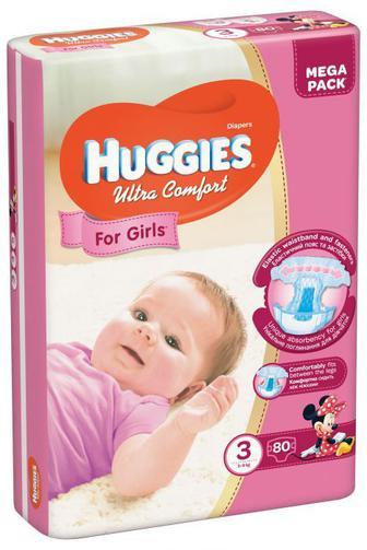 Подгузники Huggies Ultra Comfort для девочек мега р3 5-9кг 80 шт