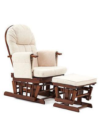 Крісло та пуф для годування та відпочинку - колір темного дерева зі світлими подушками від Mothercare