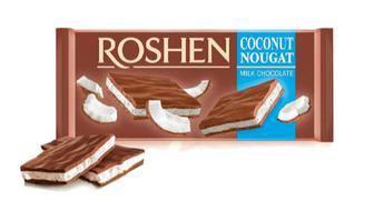 Молочний шоколад з горіхами та нугою, з кокосом та нугою, з чорниця та нугою, Рошен