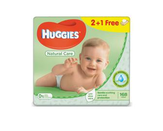 Серветки дитячі Huggies Natural Care, 2+1, Free, 168 (3х56) шт./уп