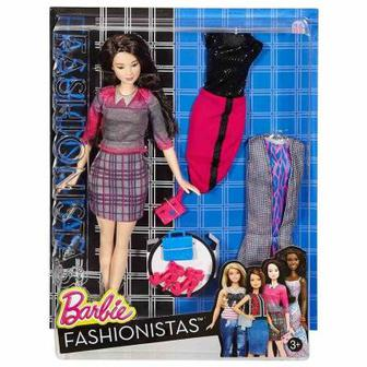 Кукла в клетчатой юбке с набором одежды Barbie Модница (DTD96 / DTD99)