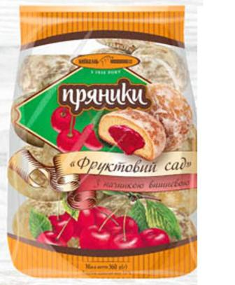 Пряники Фруктовий Сад з начинкою вишневою, абрикосовою Київхліб 360г