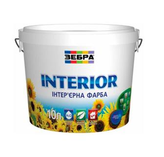 Фарба інтер'єрна Зебра Interior акрилова матова біла 10 л