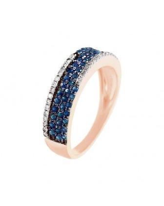 Скидка 30% ▷ Кольцо с сапфиром и бриллиантами
