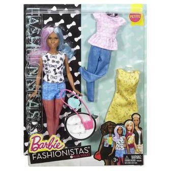 Кукла в коротких шортах и майке с набором одежды Barbie Модница (DTD96 / DTF05)